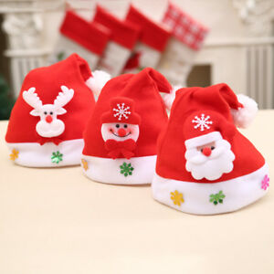 3-X-Christmas-Traditional-Hats-for-Childrens-and-Adults-Santa-Fancy-Dress-Red