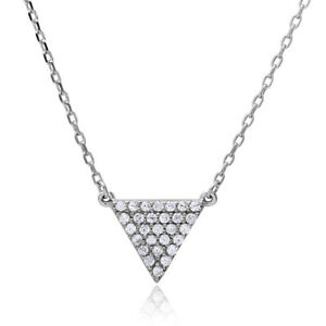 .925 Silver Nickel Free Rhodium Plated CZ Encrusted TriangleShape Chain Necklace