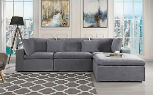 Details About Clic Large Low Profile Sectional Sofa Velvet L Shape Couch Dark Grey