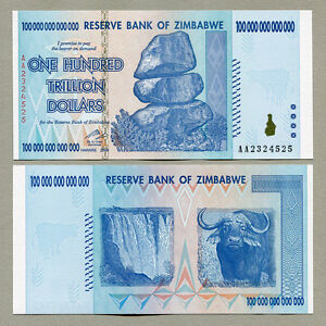 Image Is Loading Zimbabwe 100 Trillion Dollars Banknote Aa 2008 P91