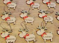 Personalised Childrens Reindeer Christmas Tree Hanging Wood Decoration Gift Xmas