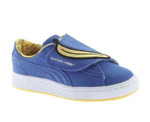 sale retailer b97f9 d59e1 New Puma Minions Basket Wrap Statement Denim Sneakers Lapis Blue YOUTH  364087 01