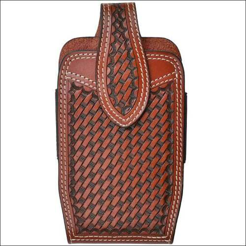 C-H696 3D Tan Basketweave Hand Tooled Leather Large Smartphone Holder Elastic Si