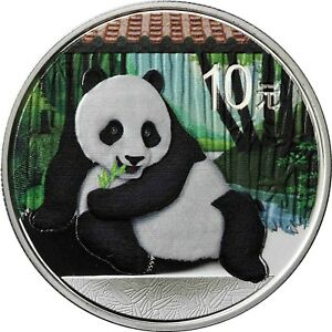 China Panda 2015 Ounce Silver 10 Yuan Silver Coin in colour