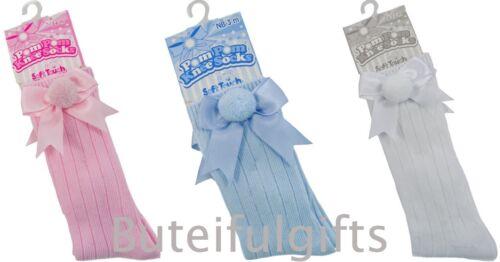 Baby Girls Boys Spanish Style Ribbed Pom Pom /& Bow Knee High Socks Soft Touch