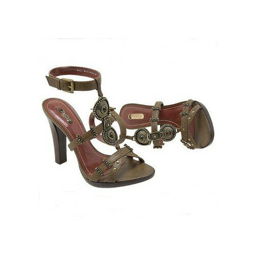 LATINO SOLE GLADIATOR GOLD OLIVE GREEN BROWN BUCKLE LEATHER SANDALS SIZE 5 6 7