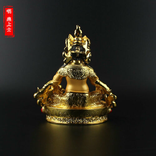 Exquisite Tibetan Buddhism Hand painting resin Gilt statue Yellow Jambhala YR25