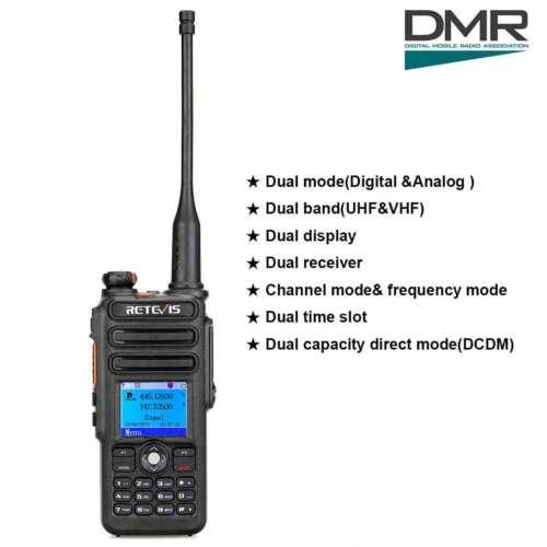 RetevisRT82 UHF+VHF Digital DMR WalkieTalkie Waterproof,2200mAh Battery Password