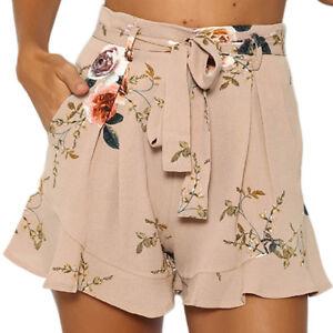Womens Ladies Short Pants Boho Floral Wide Leg Summer Beach Girls ... 3b2879848d