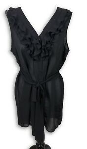 Fei-Anthropologie-Womens-Black-Sleeveless-Ruffle-Front-Tie-Blouse-Size-12