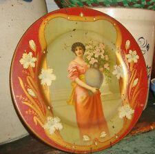 """Antique Art Nouveau """"Key Hole"""" Tin Litho Vienna Portrait Plate by Beach Co 10"""""""