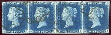 1840 2d deep blue pl. 2 RARE strip of FOUR SG/SJ  with black Maltese crosses.
