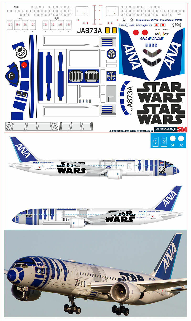 1  144 PAS -DECAL.ZVEZDA.BOEING 787 -900 ANA R2 -D2 stjärna VAROR