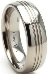New-Boxed-Engraved-039-039-I-Love-You-039-039-8mm-Titanium-Wedding-Engagement-Band-Ring