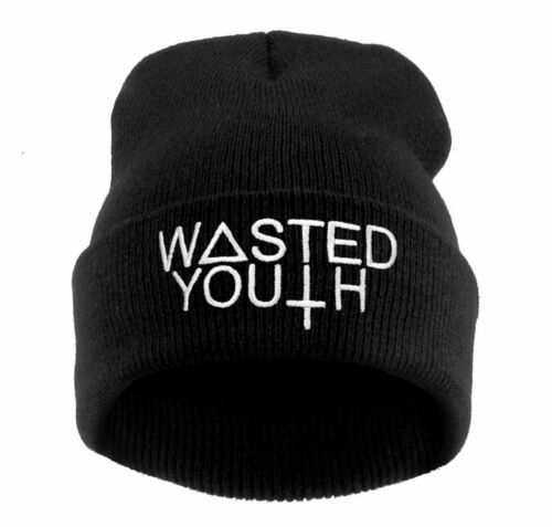 NEW Winter BEANIE HAT Cap Baggy Hip Hop WASTED YOUTH  Bad Day Day Swag Cash SKI