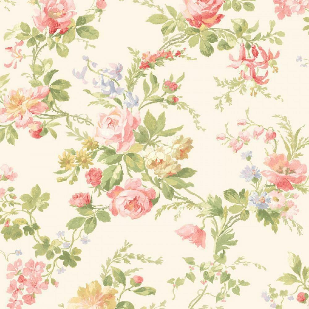 Wallpaper Designer Purple Lavender Cream Green Tan Floral Vine On