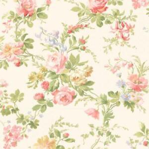 Wallpaper-Designer-Red-Pink-Yellow-Lavender-Green-Rose-Floral-Vine-on-Cream