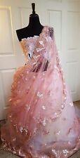 Blush Pink & Gold Embroidered Lace Lehenga Saree Sari Wedding Bridal Ball Gown