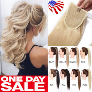 Natural-Pony-Tail-Remy-Human-Hair-Extensions-Wrap-Clip-In-Ponytail-Hairpiece-K77