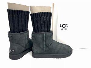 046eb54355e Details about UGG Australia x SACAI Collab KNIT CLASSIC MINI II BLACK SUEDE  BOOTS 1102989