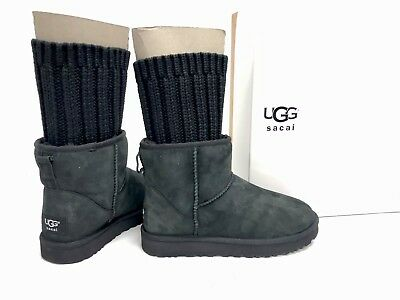 c81be40eb94 UGG Australia x SACAI Collab KNIT CLASSIC MINI II BLACK SUEDE BOOTS 1102989    eBay
