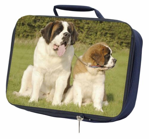 St Bernard Dog and Puppy Navy Insulated School Lunch Box Bag AD-SBE1LBN