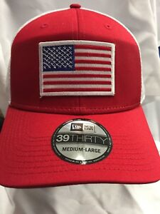 4db39e631014bf New Era NE1020 Red/White FlexFit Hat W/ American Flag White Border ...