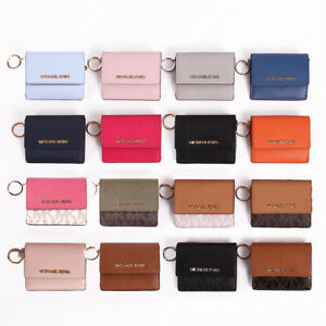 20d533b84e34 NWT Michael Kors Jet Set Travel Leather / PVC Card Case ID Key Ring ...