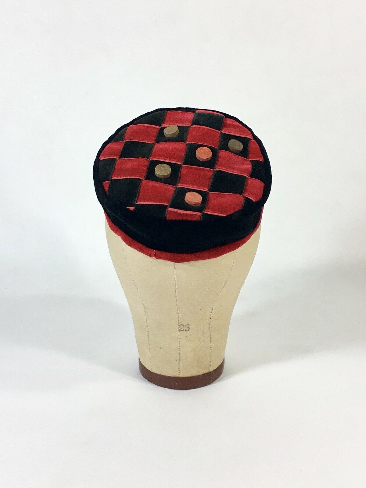 Vintage 1950's WHIMSICAL red & black velvet checkerboard checkers toque hat MINT