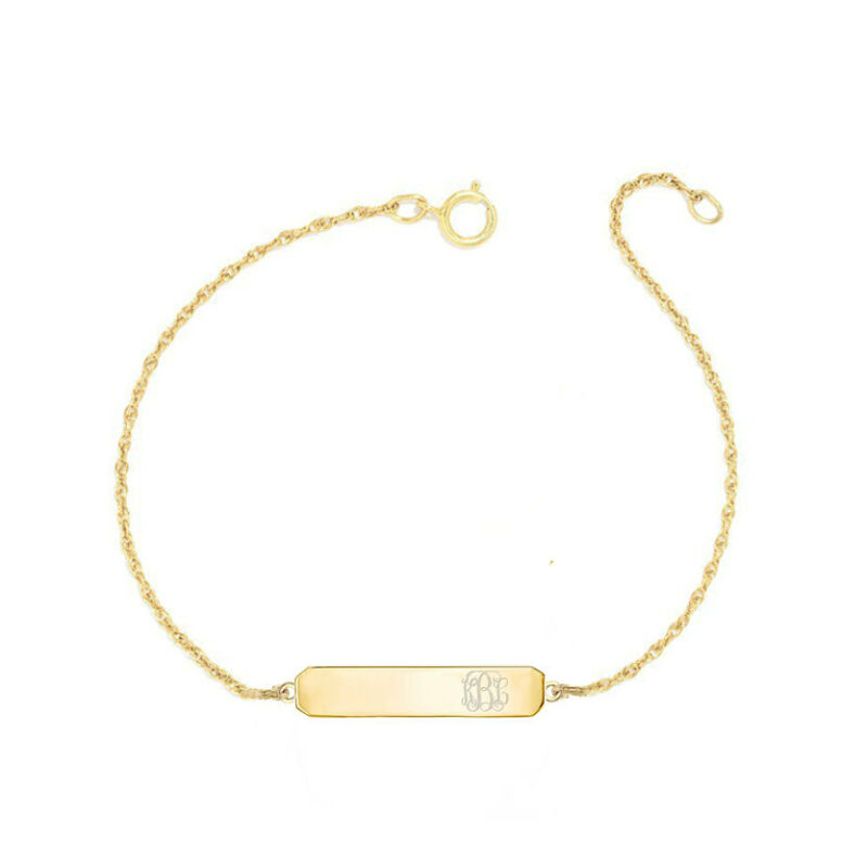 "Personalized Any Engraving 1"" Bar Link Bracelet In Yellow Gold Plated Silver"