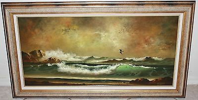 "ORIGINAL BOB TAPIA FRAMED CANVAS OIL SEASCAPE PAINTING LARGE ""35 X ""17"