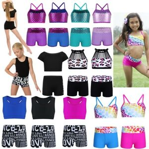 68b5166336e4 2PCS Kids Girls Tankini Dance Outfits Ballet Sports Gym Crop Tops+ ...