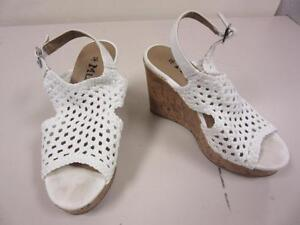 Mudd-Shoes-Beige-Woven-Canvas-High-Heels-Slingback-Wedges-Open-Toe-Size-6-M