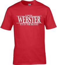 Webster Surname Mens T-Shirt 100/% Webster Gift Name Family
