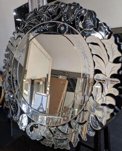 Round Venetian Art Deco Frameless Wall Mirror New Ebay