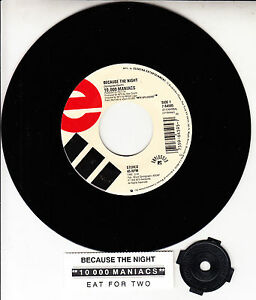 10-000-MANIACS-Because-The-Night-7-034-45-rpm-record-juke-box-title-strip-RARE