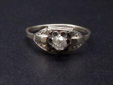 Ancienne bague solitaire epoque Art Deco or blanc et diamant