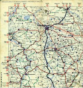 Hannover-Hildesheim-Goslar-Peine-Celle-1937-B-V-Aral-Teilkarte-Reichsautobahn