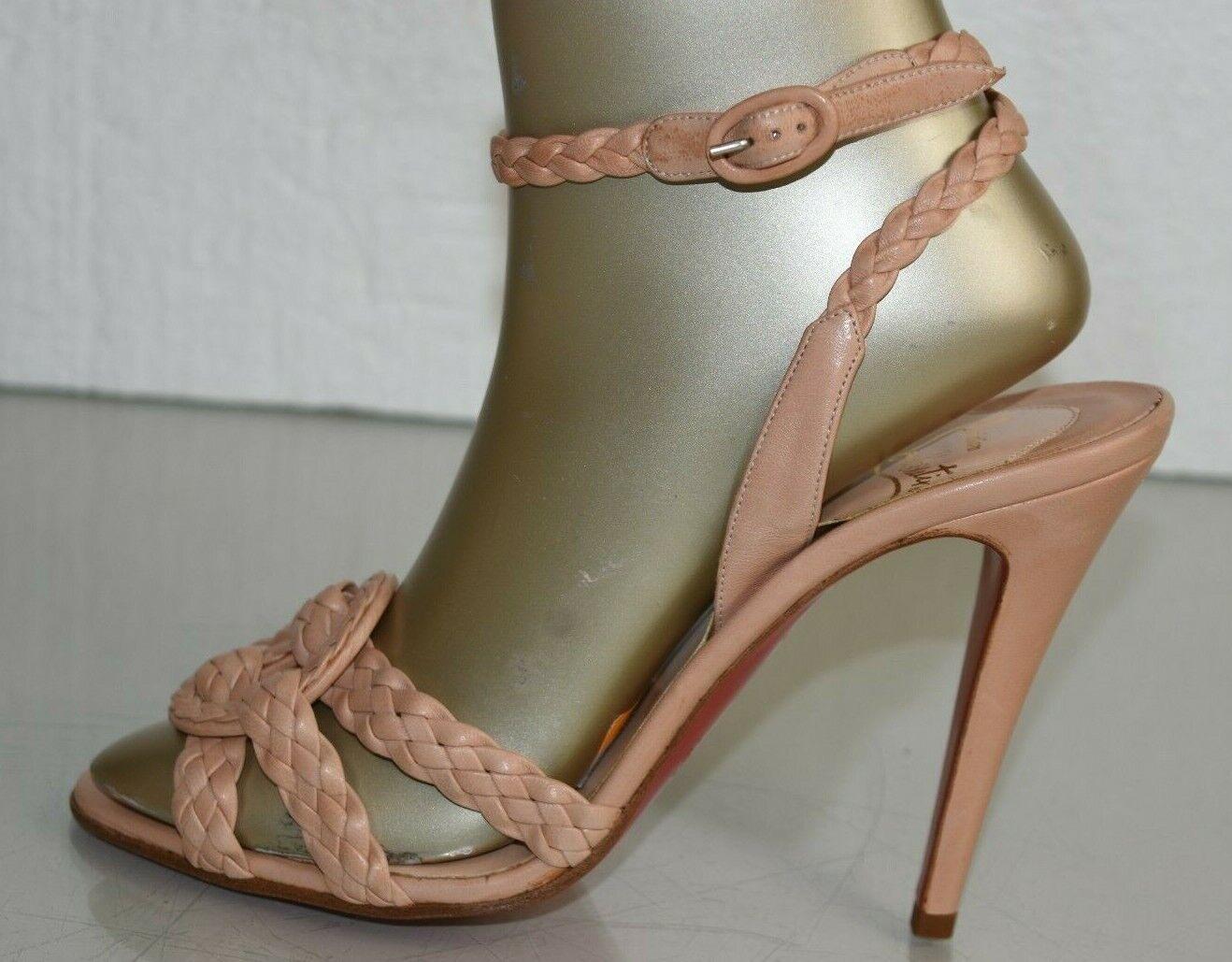 Neu Christian Louboutin Marilow Beige Gewebt Leder Sandalen Nude Schuhe 40.5 41