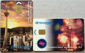 Malaysia-Used-Phone-Card-2-pcs-Kuala-Lumpur-Tower