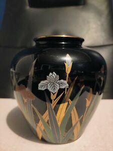 Vintage Otagiri Japan Black & Gold Vase White Iris Flowers & Dragonfly