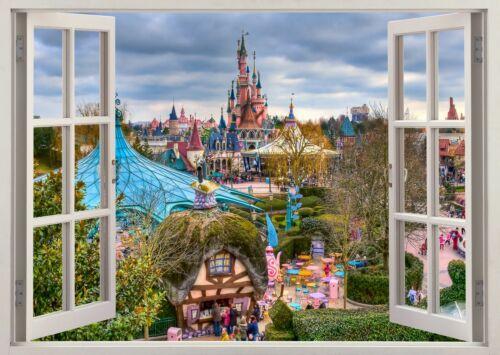 DISNEYLAND CASTLE PARIS 3D EFFECT WINDOW WALL STICKER POSTER MURAL DECAL ART 90