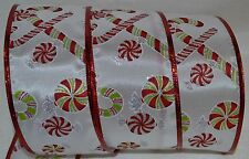 Wired Ribbon~Christmas Candy Cane~Peppermint~Red~Green~Wreath~Holiday~Gift~Bow