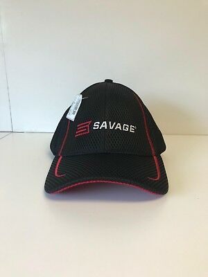 Savage Sport Mesh Cap Black and Red Adjustable Back Closure