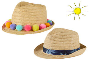 Girls Straw Trilby Hat Pom Pom Kids Childrens Summer Sun Hat