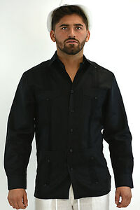 Mens-Bohio-Linen-Black-Classic-Cuban-Guayabera-4-Pocket-Shirt-S-2XL-MLS501