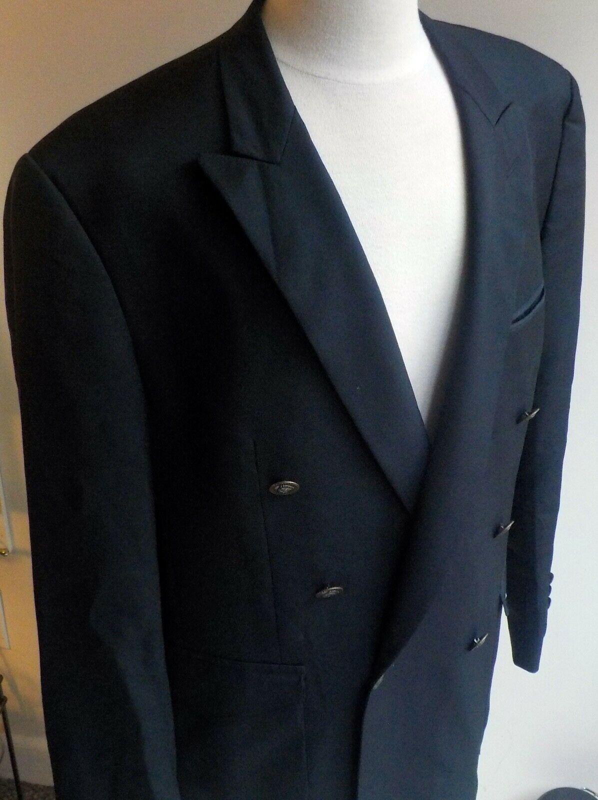VTG 90s istante Gianni Versace Navy 100% Wool Double Brested Blazer SZ 44