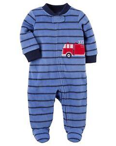 3b4bfeaa3fad Details about New Carter s Fleece Sleep n Play Fire Truck Newborn 3m 6m 9m  NWT Boys Blue