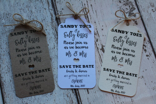 Save the Date tags Invitation /& envelope//twine Sandy toes /& Salty kisses-ABROAD