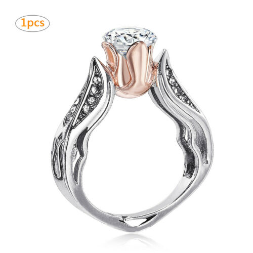 Exquisite Rose Gold Rose Floral Ring 925 Silver Flower Wedding Jewelry Size 5-11